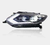 Передние фары Ниссан Х-трейл Т32 2018-2019 V6 type [Комплект Л+П; Светодиодные ходовые огни; биксеноновая линза HELLA 5R; электрокорректор]