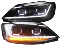 Передние фары Джетта 6 2011-2015 V14 type [Комплект Л+П; ходовые огни; биксеноновая линза Хелла 5R; электрокорректор; динамичный светодиодный поворотник]