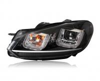 Передние фары Гольф 6 2008-2012 V10 Type [Комплект Л+П; светодиодные ходовые огни; электрокорректор]