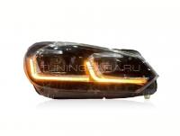 Передние фары Гольф 6 2008-2012 V11 Type [Комплект Л+П; яркие светодиодные ходовые огни; светодиодный поворотник; электрокорректор; биксеноновая линза HELLA 5R]
