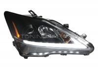 Передние фары Лексус is250 is 300 2006-2012 V2 type [Комплект Л+П; светодиодные яркие ходовые огни; биксеноновая линза; электрокорректор]